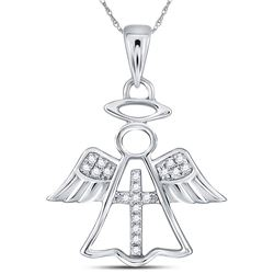 Diamond Angel Cross Religious Pendant 1/20 Cttw 14kt White Gold