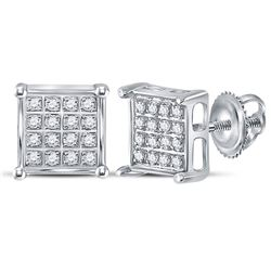 Diamond Square Cluster Earrings 1/10 Cttw 10kt White Gold