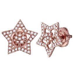 Diamond Star Cluster Stud Earrings 1/5 Cttw 10kt Rose Gold
