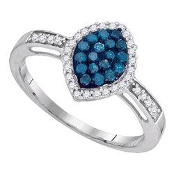 Round Blue Color Enhanced Diamond Oval Frame Cluster Ring 1/3 Cttw 10kt White Gold