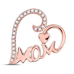 Diamond Mom Mother Heart Pendant 1/8 Cttw 10kt Rose Gold