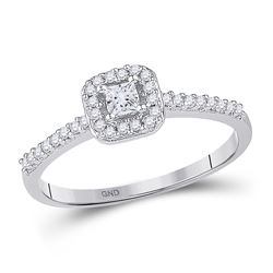 Diamond Solitaire Square Halo Bridal Wedding Engagement Ring 1/4 Cttw 10kt White Gold