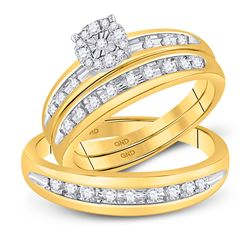 Diamond Cluster Mens Matching Halo Trio Wedding Bridal Ring Set 1/2 Cttw 10k Yellow Gold