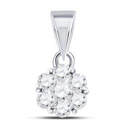 Diamond Flower Cluster Pendant 1/3 Cttw 14kt White Gold