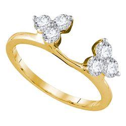 Diamond Ring Guard Wrap Enhancer Band 3/4 Cttw 14kt Yellow Gold