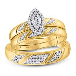 Diamond His & Hers Matching Trio Wedding Engagement Bridal Ring Set 1/4 Cttw 10k Yellow Gold