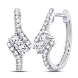 Diamond Bypass 2-stone Earrings 1/2 Cttw 14kt White Gold