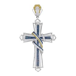 Mens Round Blue & Yellow Color Enhanced Diamond Bound Flared Cross Charm Pendant 1-5/8 Cttw 10kt Whi