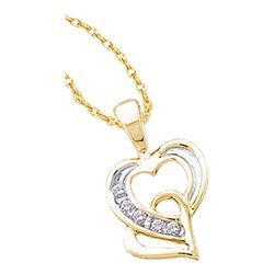 Diamond Double Joined Heart Pendant 1/20 Cttw 10kt Yellow Gold
