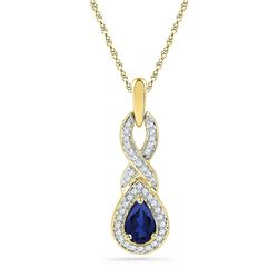 Pear Lab-Created Blue Sapphire Solitaire Pendant 2/3 Cttw 10kt Yellow Gold