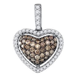 Round Brown Diamond Heart Pendant 1/2 Cttw 10kt White Gold