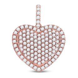 Diamond Fashion Heart Pendant 1-1/4 Cttw 14kt Rose Gold