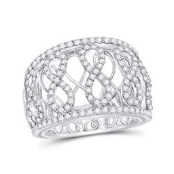Diamond Fashion Infinity Band Ring 7/8 Cttw 14kt White Gold