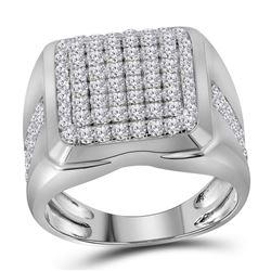 Mens Diamond Square Cluster Fashion Ring 2.00 Cttw 10kt White Gold