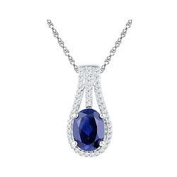 Oval Lab-Created Blue Sapphire Solitaire Diamond Pendant 1-3/4 Cttw 10kt White Gold