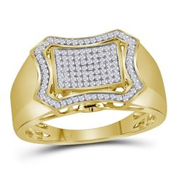 Mens Diamond Curved Octagon Cluster Ring 1/3 Cttw 10kt Yellow Gold