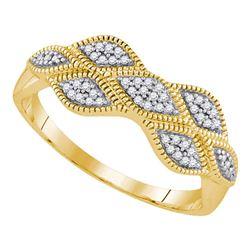 Diamond Cluster Milgrain Band Ring 1/10 Cttw 10kt Yellow Gold
