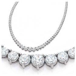 Natural 11.59CTW VS2/I-J Diamond Tennis Necklace 14K White Gold - REF-1094N9Y
