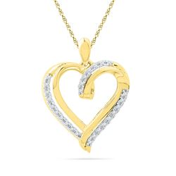 Diamond Heart Pendant 1/10 Cttw 10kt Yellow Gold