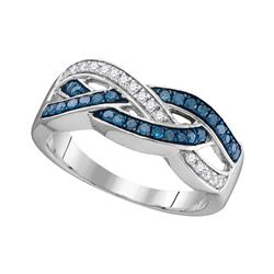 Round Blue Color Enhanced Diamond Crossover Band Ring 1/3 Cttw 10kt White Gold