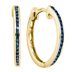 Round Blue Color Enhanced Diamond Hoop Earrings 1/10 Cttw 10kt Yellow Gold