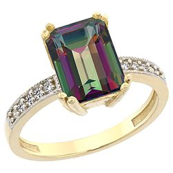 3.70 CTW Mystic Topaz & Diamond Ring 10K Yellow Gold - REF-32M2K