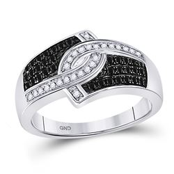 Round Black Color Enhanced Diamond Band Ring 1/3 Cttw 10kt White Gold