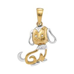 Diamond Dog Doggy Pendant .01 Cttw 10kt Two-tone Gold
