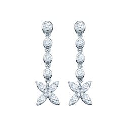 Diamond Flower Cluster Dangle Earrings 3/4 Cttw 10kt White Gold