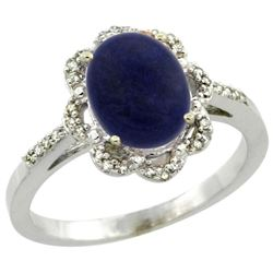 1.90 CTW Lapis Lazuli & Diamond Ring 10K White Gold - REF-34F9N