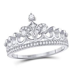 Diamond Crown Tiara Fashion Ring 1/5 Cttw 10kt White Gold