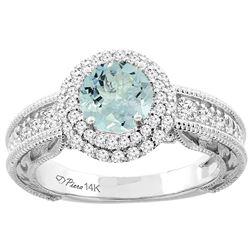 1.20 CTW Aquamarine & Diamond Ring 14K White Gold - REF-88V5R
