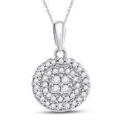 Diamond Circle Cluster Pendant 1/4 Cttw 10kt White Gold