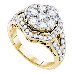 Diamond Cluster Ring 2.00 Cttw 14kt Yellow Gold