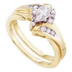 Marquise Diamond Bridal Wedding Engagement Ring Band Set 1/4 Cttw 14kt Yellow Gold