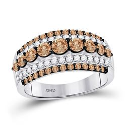 Round Brown Diamond Fancy Cocktail Ring 1-1/2 Cttw 10kt White Gold