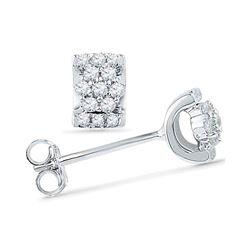 Diamond Flower Cluster Screwback Earrings 1/6 Cttw 10kt White Gold
