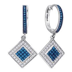 Round Blue Color Enhanced Diamond Square Dangle Earrings 1/2 Cttw 10kt White Gold