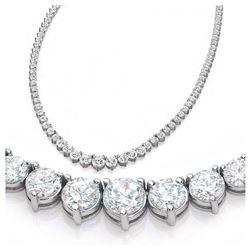 Natural 7.18CTW VS2/I-J Diamond Tennis Necklace 14K White Gold - REF-553F3N