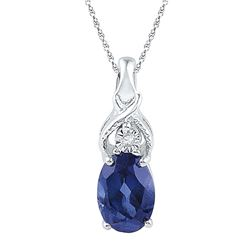 Oval Lab-Created Blue Sapphire Solitaire Diamond Pendant 7/8 Cttw 10kt White Gold