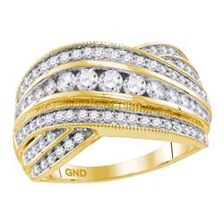 Diamond Fashion Crossover Band Ring 1.00 Cttw 14kt Yellow Gold