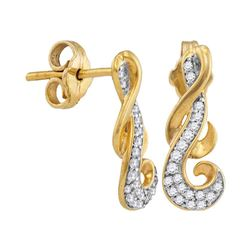Diamond Cluster Curled Screwback Earrings 1/6 Cttw 10kt Yellow Gold