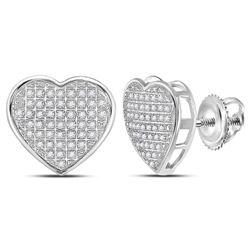Diamond Heart Cluster Stud Earrings 1/3 Cttw 10kt White Gold