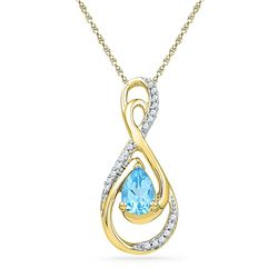 Oval Lab-Created Blue Topaz Solitaire Diamond Teardrop Pendant 3/4 Cttw 10kt Yellow Gold