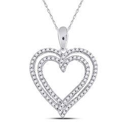 Diamond Double Frame Heart Pendant 1/2 Cttw 10kt White Gold