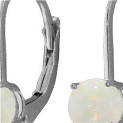 Genuine 0.70 ctw Opal Earrings 14KT White Gold - REF-24W3Y