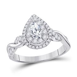 Pear Diamond Solitaire Bridal Wedding Engagement Ring 1.00 Cttw 14kt White Gold