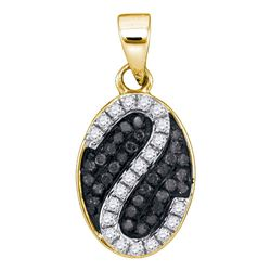 Round Black Color Enhanced Diamond Oval Stripe Cluster Pendant 1/4 Cttw 10kt Yellow Gold