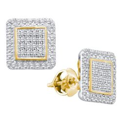 Diamond Cluster Square Stud Earrings 1/3 Cttw 10kt Yellow Gold