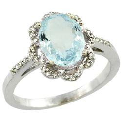 1.60 CTW Aquamarine & Diamond Ring 14K White Gold - REF-51Y7V